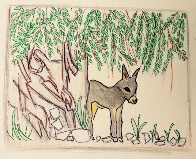 donkey under olive tree - 1